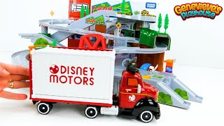 Let's play with Disney Tsum Tsum and Shopkins Cars on the Tomica Mountain Drive playset!