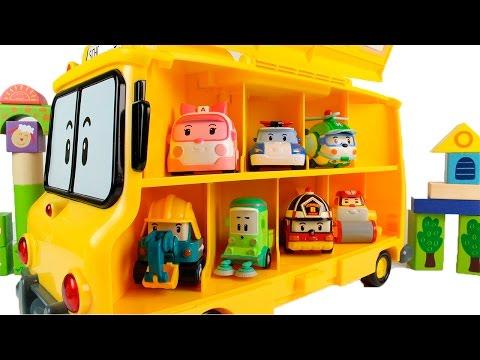 Машинки Cars. Автобус с маленькими машинками Poli. Много маленьких машинок садятся в автобус