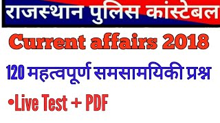 Rajasthan current affairs 2018 // Rajasthan ldc current affairs questions // Rajasthan police GK