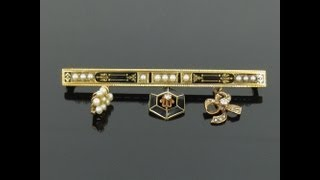 Antique 0.06ct Diamond Natural Pearl & Enamel 14K Rose & Yellow Gold Charm Bar Pin
