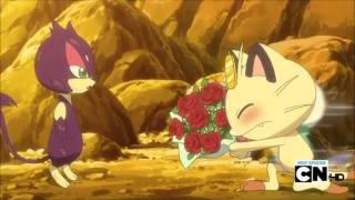 Meowth and Oshawott asking purrloin out