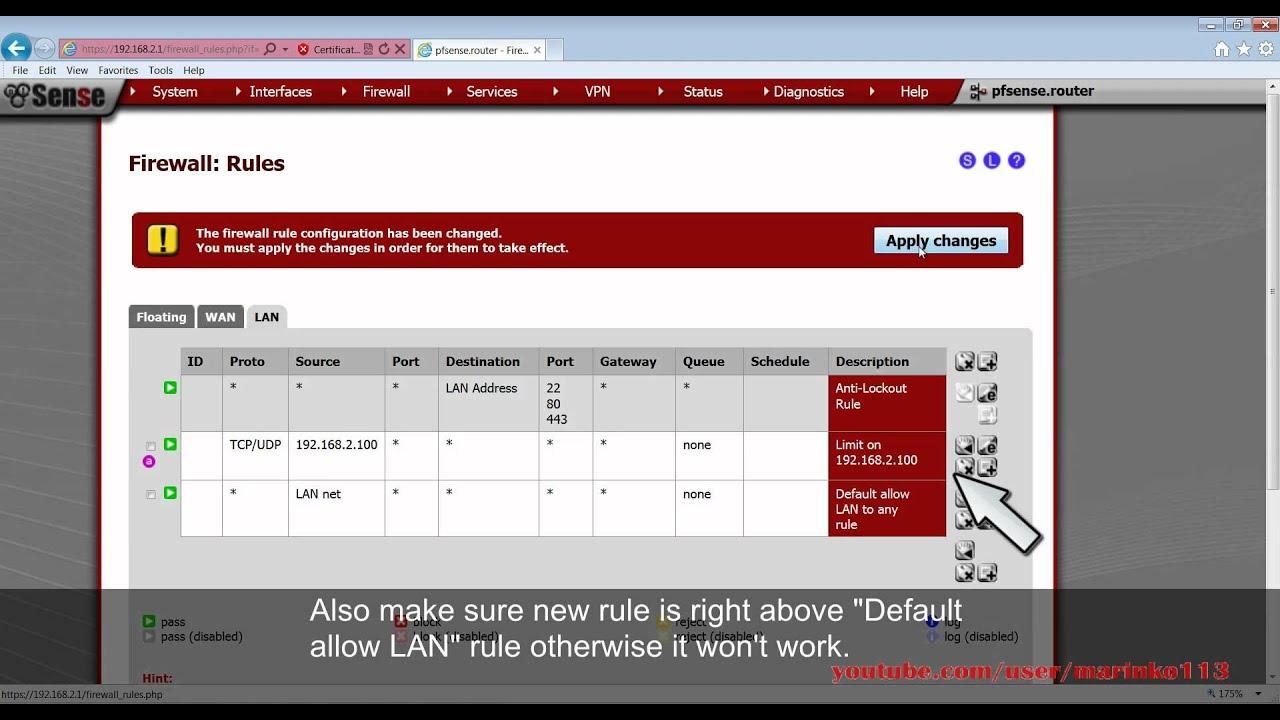 pfSense 2 0 - Limit Download \u0026 Upload bandwidth per IP - YouTube