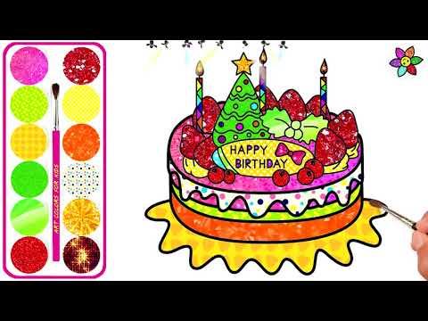 Wie man süßen Geburtstagskuchen für Baby mit funkelnder Farbe zeichnet | Malvorlagen für Kinder