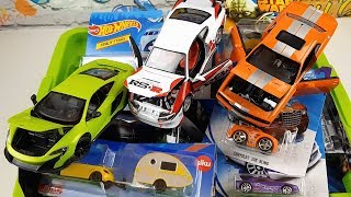 Box full of Cars Toys Welly Hot WHeels Siku Video for kids
