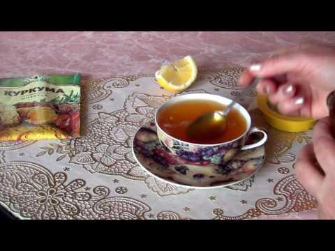Омолаживающий чай с куркумой, медом и лимоном.