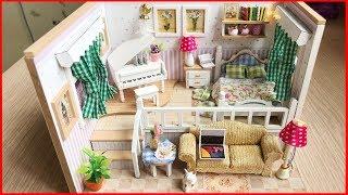 Đồ chơi NHÀ BÚP BÊ 2 TẦNG, giường, đàn piano, ghế sofa -  DIY miniature doll house - Mô hình tí hon