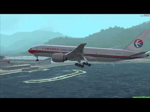 FSX PMDG 777 Landing Hong Kong International Airport VHHH [Chek Lap Kok] Outside View