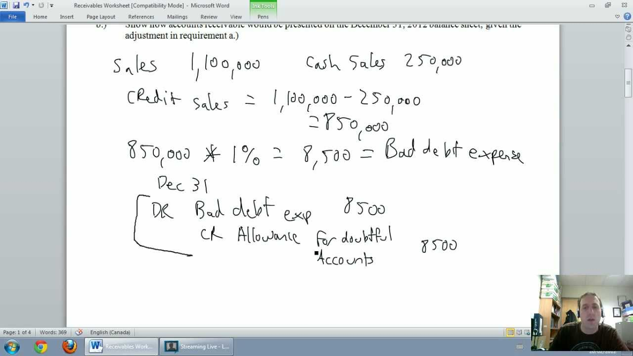 accounting - unit 5 - part 2 - allowance for doubtful accounts - income statement method