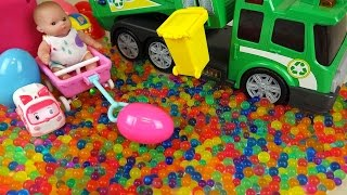 Baby doll and garbage truck Surprise eggs color candy Kinder Joy toys