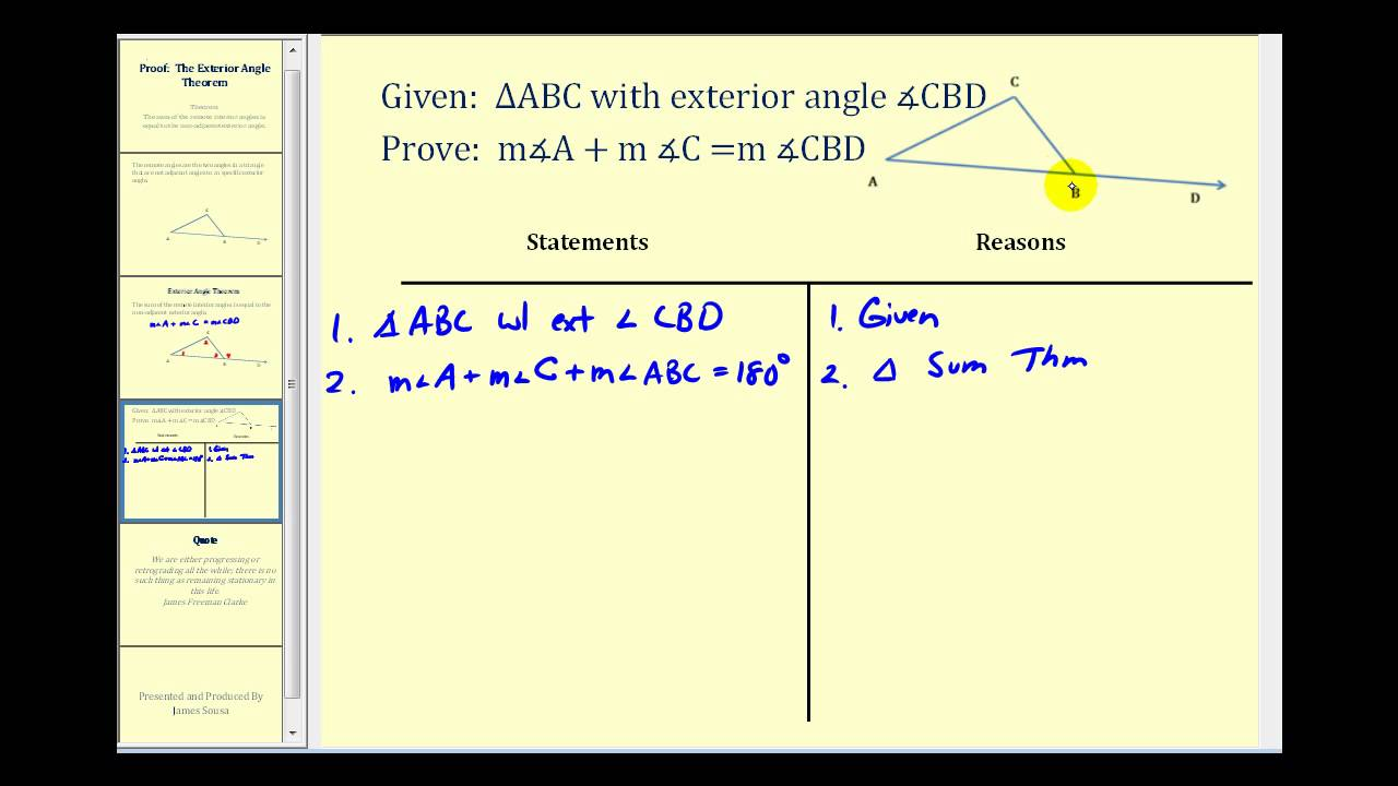 Proof the exterior angles theorem youtube - Triangle exterior angle theorem proof ...