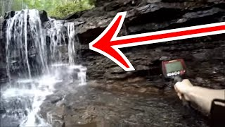 WHOA! Metal Detecting A Waterfall For Abandoned Treasure! The River Outlet Gives Underwater Surprise