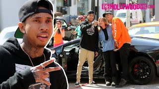 Tyga Stops By Last Kings & Checks Out A Vintage Car On The Sunset Strip While Driving A Lamborghini