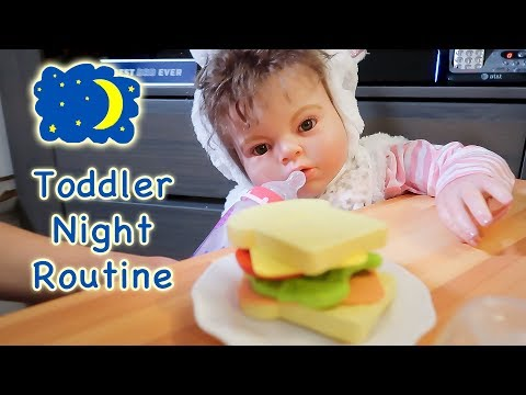 Night Time Routine with Reborn Toddler Doll in Play Kitchen