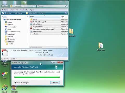 Comprimir ficheiros em ZIP