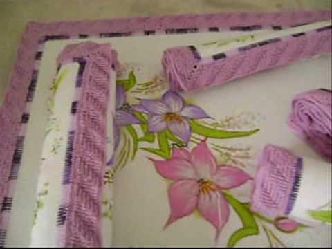 edinir-croche apresenta jogo de toalhas em tecido com pintura e ...