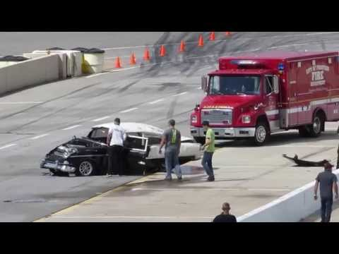 Crazy Drag Race Crash - Guy Flies Through Windshield