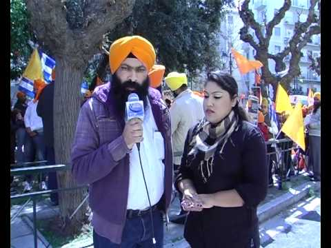 sikh comunity greece protest infront indian embassy
