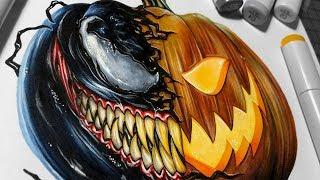 Venom Pumpkin - Copic Marker Illustration