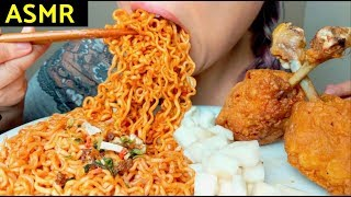 ASMR 4X MALA Fire Noodles 🔥+ HUGE Fried Chicken 🍗🍭먹방 Crunchy Sounds* No Talking suellASMR
