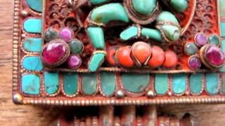 Large Tibetan Ghau (Gau) Prayer Box, Exterior & Interior Fine Detail in Gems.