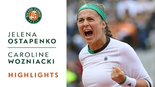 jelena ostapenko v caroline wozniacki highlights   womens quarterfinals 2017 roland garros