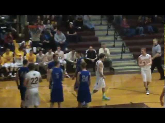 3-9-13 - Randy Baker scores off the window and is fouled (Brush 41, Moffat County 34)