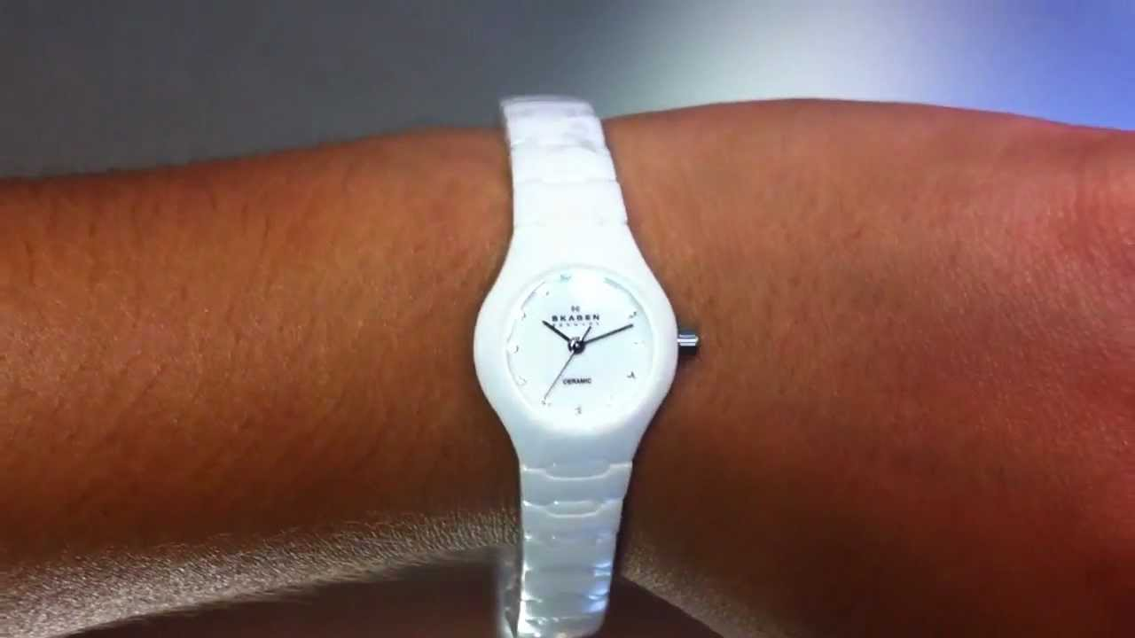 Woman S Skagen White Ceramic Watch 816xswxc1 Youtube
