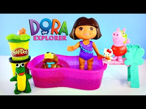 Splash & Paddle Dora The Explorer Perrito Swimming - Play Doh, Hello Kitty, Peppa Pig Episodes 2015 video