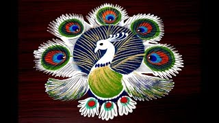 download lagu Latest And Simple Peacock Rangoli Designs Using Tools And gratis