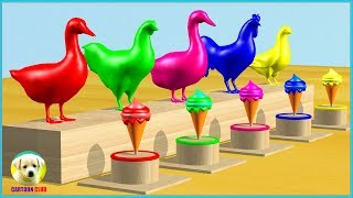 Learn Colors with Farm Animals eat Soccer #Ball ice cream colors Cartoon for Children
