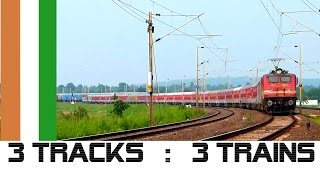 Exciting ! 3 trains on 3 tracks simultaneously on Indian Railways