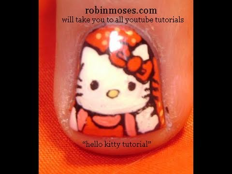 EASY HELLO KITTY NAIL - Hello kitty körmök