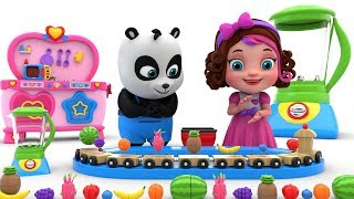 Pinky and Panda Playing with Toy Fruits and Vegetables - Learning Videos
