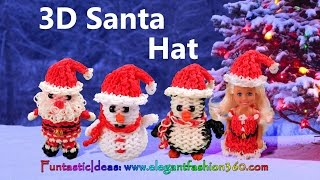 Rainbow Loom Santa Hat for Snowman/Penguin/Snata Claus/Barbie 3D - How to Loom Bands tutorial