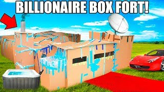 BILLIONAIRE BOX FORT MANSION!!📦💰 24 Hour Challenge: Movie Theatre, Hot Tub, Gaming Room & More!