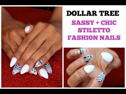 DOLLAR TREE | SASSY + CHIC STILETTO Artificial Nails | Fabulous BLACK/WHITE Design Manicure