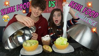 SLIME FOOD vs REAL FOOD CHALLENGE met HUGO - DEEL 2 - Bibi