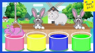 Learn Colors with Animals | Rabbits Dipped In Colours | Coloring For Kids Easy #LearnColors #ForKids