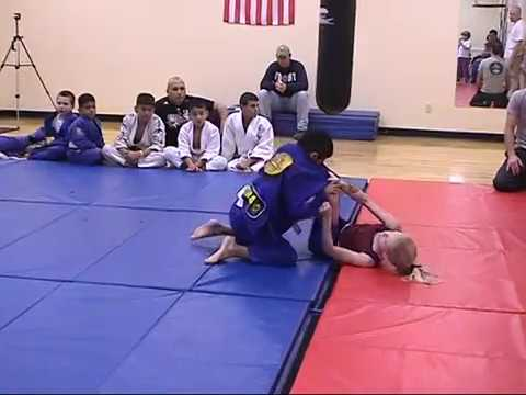 Jenny's Insane Open Guard at 12 grappling a boy