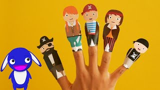 Pirate finger family song for kids with pirate finger puppets by Moogoopi