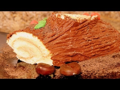 Yule Log With Chocolate And Chestnut Buttercream Recipe - CookingWithAlia - Episode 162