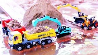 Excavator and truck รถแม็คโครตักดินในน้ำ รถบรรทุกดั้ม รถก่อสร้าง วีดีโอสำหรับเด็ก