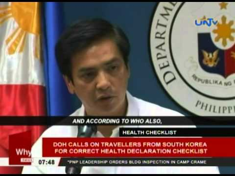 DOH calls on travelling from South Korea for correct health declaration checklist