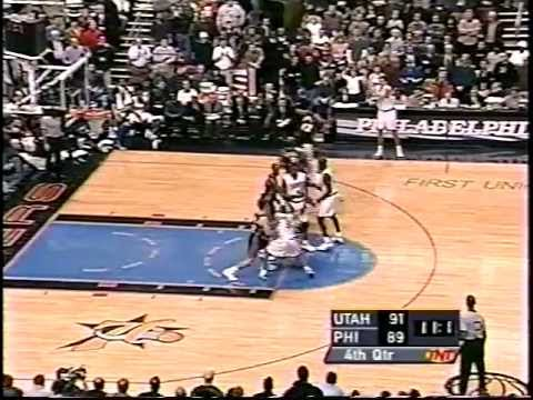 Jazz at 76ers - Iverson 45 pts/Malone 41 pts - 12/20/00 (Highlights)