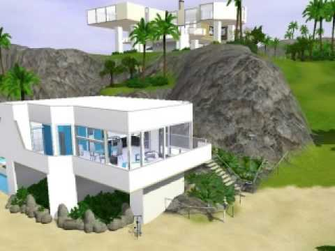 The sims 3 modern beach house youtube for Beach house plans sims 3
