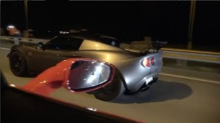 Crazy Guy in Ferrari 458 Surprised by Supercharged K20 Lotus on the highway!