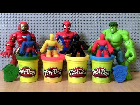 Play Doh Marvel Avengers SpiderMan THOR Iron-Man HULK Wolverine Super Hero Squad Adventures Play-Doh
