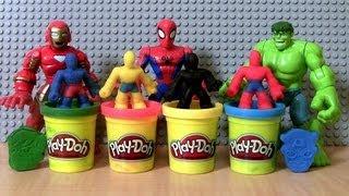 Play-Doh Superheroes Marvel Avengers Super Hero Squad Spiderman THOR HULK Wolverine IRON MAN