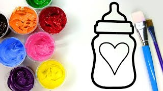 Painting Heart Baby Bottle, Star and Heart Tree Painting Pages for Children to Learn Painting