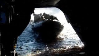 Chinook CH-47 Helicopter Picks up US Navy Seals Team Assault Boat Water Extraction on Rear Door Ramp
